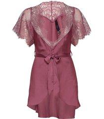 kimono cap sleeve morgonrock rosa hunkemöller