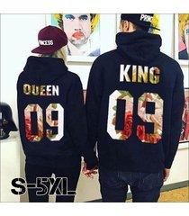 new king & his queen men women's casual lover couple's cotton sweatshirts hoodie