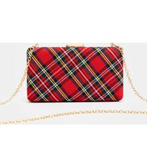 coralie plaid mini hard case clutch - red