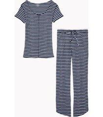 tommy hilfiger women's stripe long pajama set navy blazer / white - s