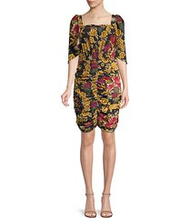 leandra ruched floral silk dress