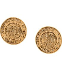 chanel pre-owned 1990s coats of arms oversized earrings - gold