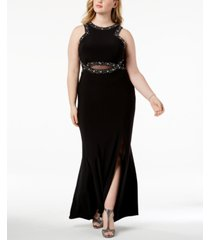 morgan & company trendy plus size embellished sheer-inset gown