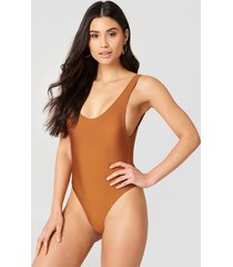 hannalicious x na-kd high cut swimsuit - copper