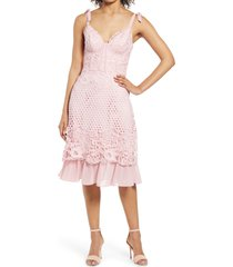 chi chi london crochet corset cocktail dress, size 10 in mink at nordstrom