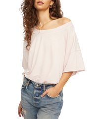 women's free people cozy girl french terry bodysuit, size large - pink