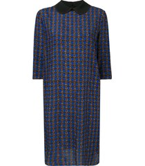 marni micro-pattern dress - blue