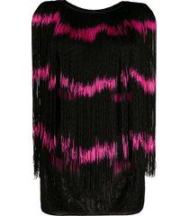 jean paul gaultier pre-owned 1985 frayed striped vest - black