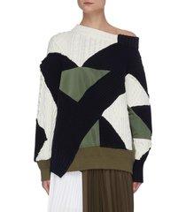 x hank willis thomas mixed geometric patchwork asymmetric neck sweater