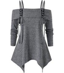 plus size spaghetti strap open shoulder solid sweater