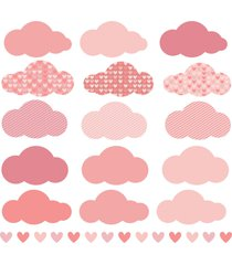 adesivo de parede chuva de amor clã¡ssico rosa - multicolorido - dafiti
