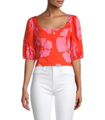 staud women's papaya floral crop top - abstract floral - size 2