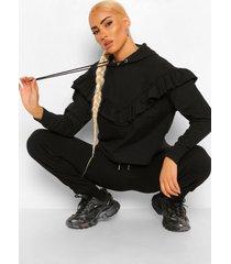 oversized hoodie met franjes, black