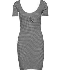 monogram stripe ballet dress kort klänning grå calvin klein jeans