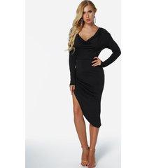 yoins basics negro drapeado flacidez cuello mangas largas dobladillo irregular vestido