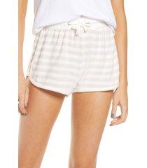 women's vintage havana stripe hacci pajama shorts, size large - white