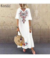 zanzea vestidos v para mujer floral cuello largo vestido de la playa de las señoras de vacaciones vestido de tirantes party -blanco