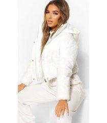petite korte glanzende jas met capuchon, wit