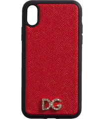 dolce & gabbana two-tone logo plaque iphone case - red