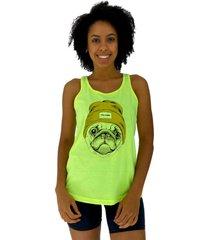 regata feminina alto conceito pug com gorro amarelo flãºor - amarelo - feminino - algodã£o - dafiti