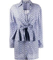 derek lam 10 crosby nalani peplum shirt dress - blue