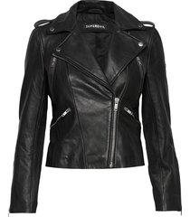 classic leather biker leren jack leren jas zwart superdry