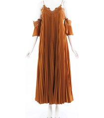self portrait pleated crochet cold shoulder maxi dress