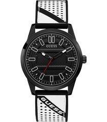 zegarek z silikonowym paskiem z perforowanmi wstawkami i logo