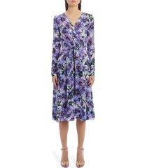 women's dolce & gabbana floral long sleeve silk crepe dress, size 8 us - purple