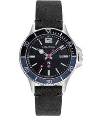 nautica n83 men's accra beach black, blue nubuk leather strap watch 43mm