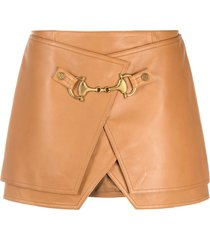 balmain buckle-detail high-waisted skirt - brown