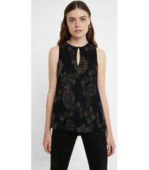 black sleeveless pleated blouse - black - xxl