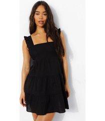 katoenen maxi jurk met uitgesneden hals, strik en laagjes, black