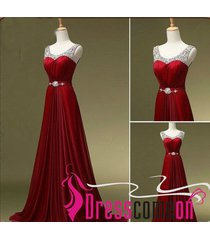 a line scoop beads burgundy long chiffon wine red prom/evening/formal dress n3