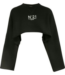 n.21 cropped length logo print pullover