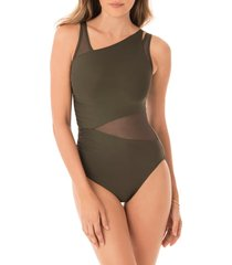 women's miraclesuit illusionists azura underwire one-piece swimsuit, size 8 - green