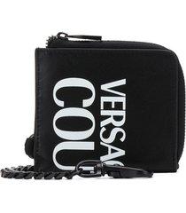versace jeans couture mini logo print wallet - black
