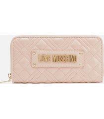 love moschino women's quilted large zip around wallet - pink