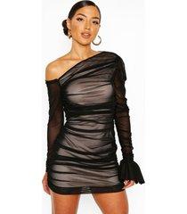 jurk met eén open schouder en ruches, zwart