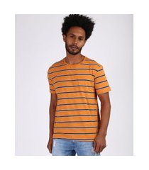 camiseta masculina estampada listrada manga curta gola careca laranja