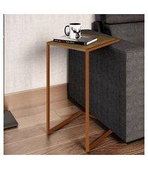 mesa lateral encosto para sofá artesano industrial vermont/cobre