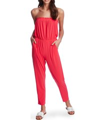 women's 1.state strapless knit jumpsuit, size large - pink