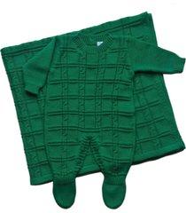 conjunto manta e macacão londres passion tricot verde