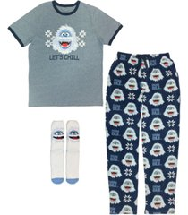 the bumble from rudolph men's 3 pieces pajama set, online only