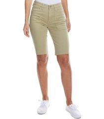 oat raw-hem denim bermuda shorts