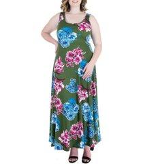 plus size floral sleeveless maxi dress