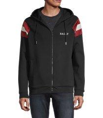 bally men's colorblock logo hoodie - black - size m