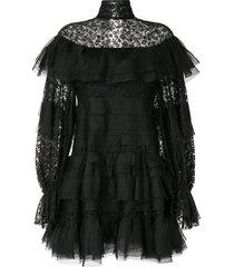 carolina herrera tulle floral lace tiered dress - black
