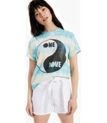 junk food women's cotton tie-dyed one love-graphic t-shirt