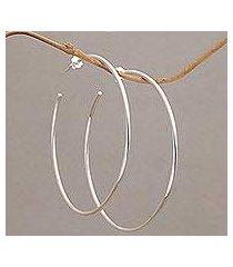 sterling silver half-hoop earrings, 'patently simple' (indonesia)